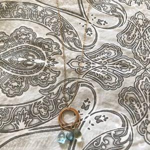 Laura J. Handmade Gold Necklace w/ Blue Stones